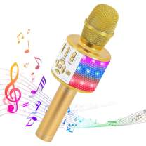 Ankuka Karaoke Microphone for Kids, Fun Toys for Girls and Boys, Portable Wireless 4 in 1 Bluetooth Karaoke Microphone with LED Lights (Light Gold)