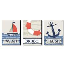 Big Dot of Happiness Ahoy - Nautical - Kids Bathroom Rules Wall Art - 7.5 x 10 inches - Set of 3 Signs - Wash, Brush, Flush