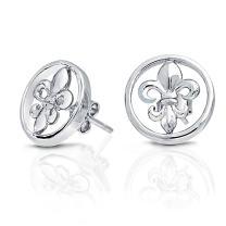 Bling Jewelry Round Open Fleur de Lis Stud Earrings 925 Sterling Silver