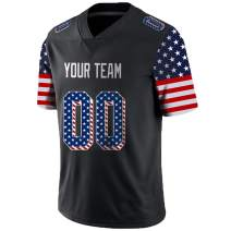 Pullonsy USA Flag Custom Football Jerseys for Men Women Youth Embroidered Names and Numbers S-8XL Design Your Own
