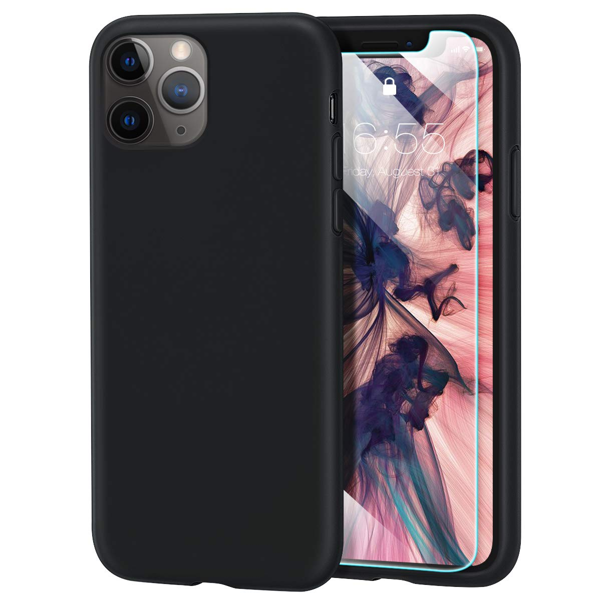 MILPROX iPhone 11 Pro Case with Screen Protector, Liquid Silicone Gel Rubber Shockproof Slim Shell with Soft Microfiber Cloth Lining Cushion Cover for iPhone 11 Pro 5.8 inch (2019)-Black