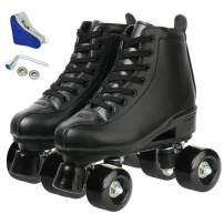 Women's Roller Skates PU Leather High-top Roller Skates Four-Wheel Roller Skates Shiny Roller Skates for Girls