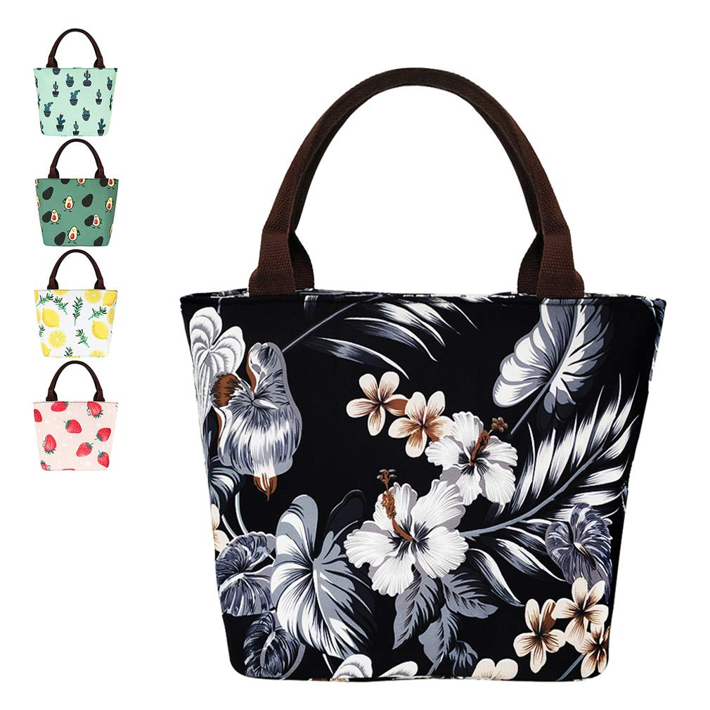 Floral Lunch Bag For Women Insulated Lunch Box Water-resistant Thermal Tote Bag for Work/Office/Beach Fishing/Picnic