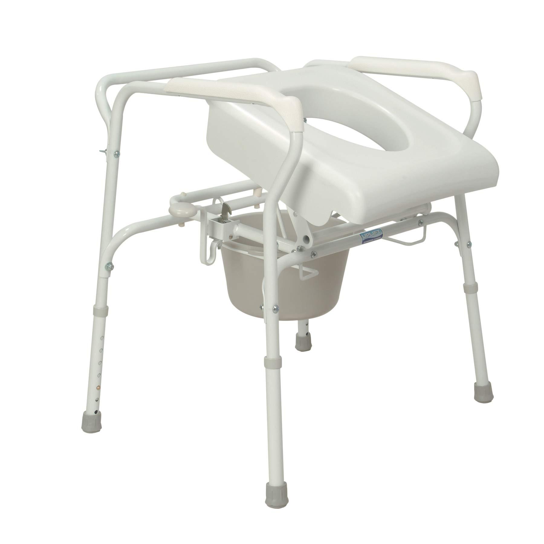 Carex Commode Seat Riser - Toilet Lift Commode Chair For Seniors, Elderly, Handicap - Auto Lifting Toilet Chair, White