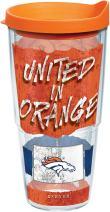 Tervis 1227764 NFL Denver Broncos NFL Statement Tumbler with Wrap and Orange Lid 24oz, Clear