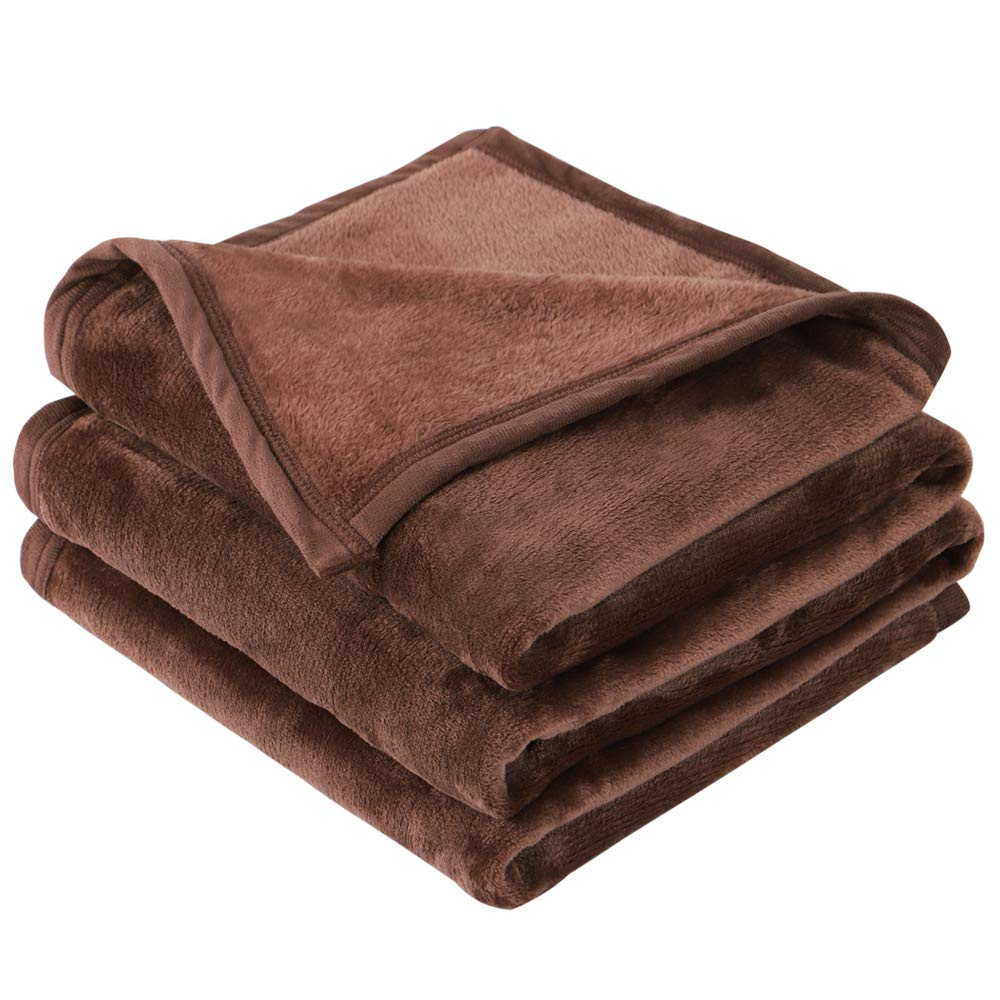 "EMME Fleece Blanket Throw Size Coffee Lightweight Super Soft Microfiber Velvet Plush Throw Blanket 300GSM Bed Blanket Cozy Nap Luxury Couch Bed Warm Blanket (Coffee, 50""x60"")"