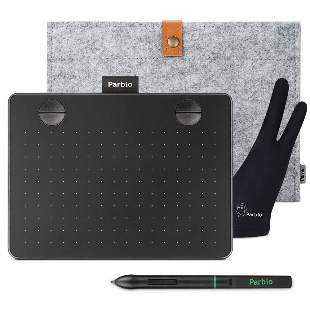 Parblo A640 Drawing Tablet 6 x4 Inches Graphic Drawing Tablet with 8192 Levels Battery-free Stylus, Pen Tablets with 4 Shortcut Keys for Digital Art Creation, Drawing, Sketch, Design, Included Bag and
