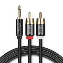 RCA Audio Cable Tuwejia Super HD 3.5mm AUX to 2RCA 15Feet Y Splitter Stereo Audio Cable Male Type OFC Conductor Dual Shielding Gold Plated High-End Metal Shell