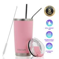 DSCVR 20oz Thermal Shield Travel Tumbler (Pink) - Unbreakable Lid and Straws, Stainless Steel, Double Wall Insulated, Spill Proof