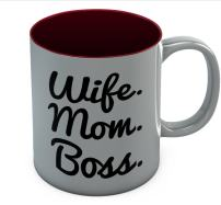 Wife Mom Boss Coffee Mug - Best Birthday Mother's Day Christmas Gift 11 Oz. Red