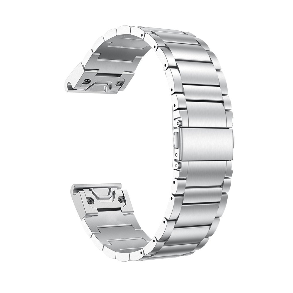 LDFAS Fenix 6X Pro/5X Band, Quick Release Easy Fit 26mm Solid Stainless Steel Metal Bands Compatible for Garmin Fenix 6X/6X Pro/5X/5X Plus/3/3HR/Descent Mk1 Smartwatch, Silver