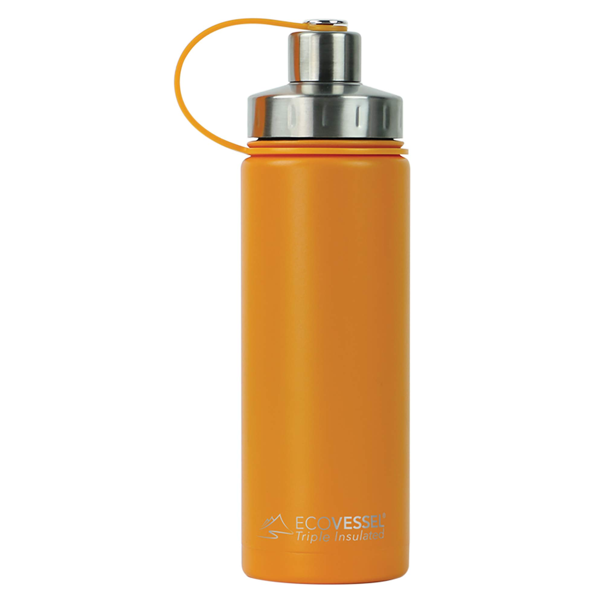 EcoVessel BOULDER TriMax Vacuum Insulated Stainless Steel Water Bottle with Versatile Stainless Steel Top and Tea, Fruit, Ice Strainer - 20 ounce - Mystic Mango