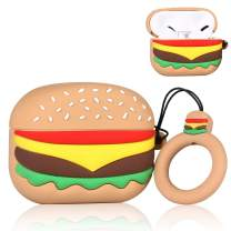 Coralogo Case for Airpods Pro/for Airpods 3 Cute, 3D Unique Fashion Character Soft Silicone Cartoon Airpod Skin Funny Fun Cool Keychain Design Kids Teens Girls Boys Cover Cases Air pods 3 (Hamburger)