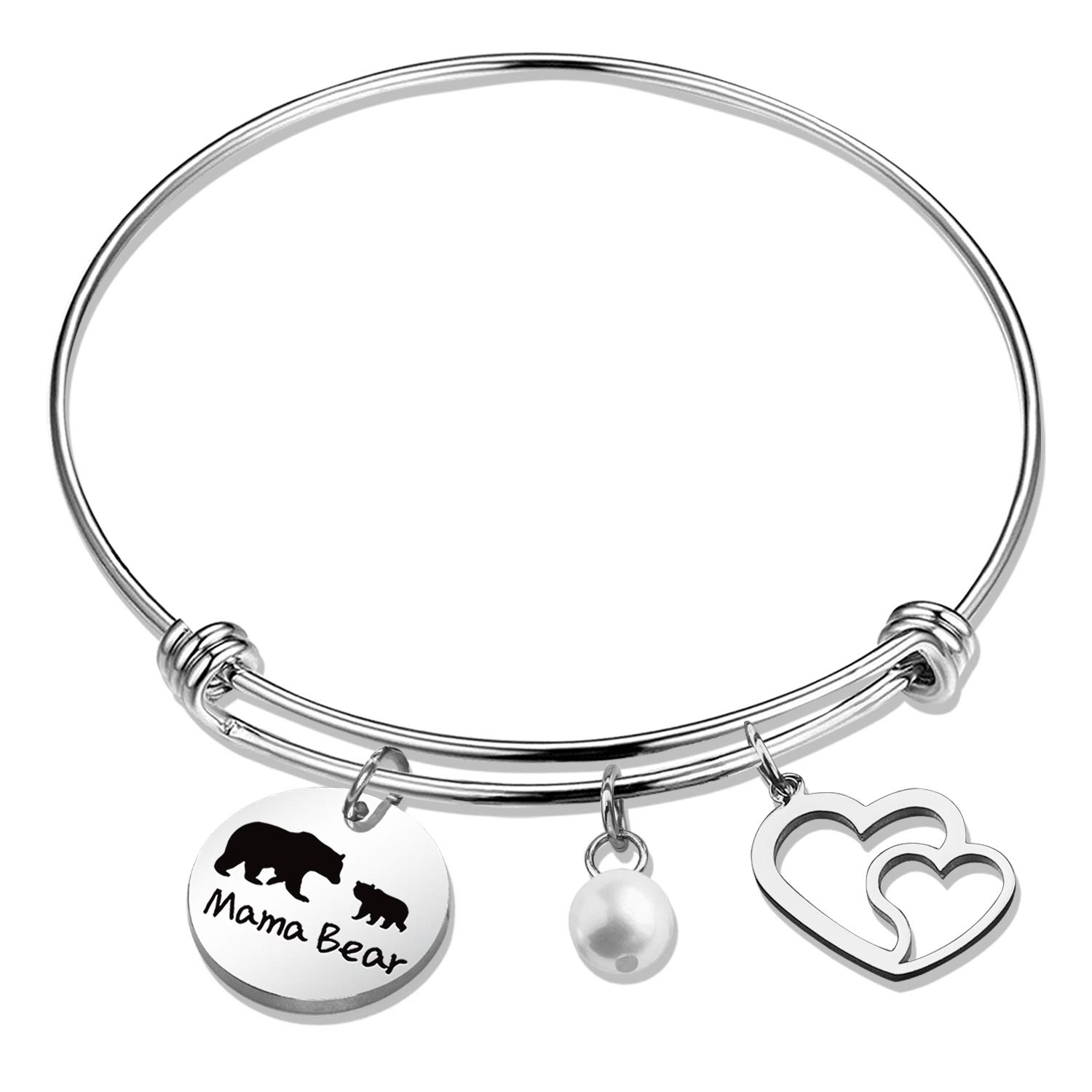 SIDIMELO Inspirational Gifts Mom Bracelet Mama Bear Bracelet Sweet Family Personalized Mama Bear Jewelry for Mother Wife Grandma Momma Baby Bears Cubs Gifts