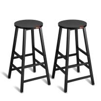 """Mr IRONSTONE Pub Height Bar Stools Set of 2 , 27.7"""" Pub Dining Height Stools Bistro Table Chairs (Black)"""