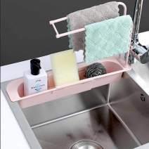 Telescopic Sink Storage Rack Holder Expandable Household Storage Drain Basket Rack Adjustable Sink Organizer Holder Ventilated Sponge Soap Holder Drainer Sink Tray,for Home Kitchen (Pink)
