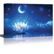 "wall26 - Canvas Prints Wall Art - Lotus Flower Floating on Water by Moonlight | Modern Wall Decor/Home Decoration Stretched Gallery Canvas Wrap Giclee Print. Ready to Hang - 32"" x 48"""