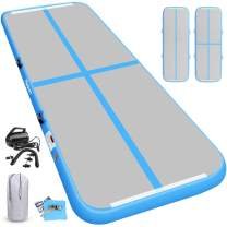 KIKILIVE Inflatable Gymnastics Mat, 4 /8inches Thickness Length Between 10ft to 39ft Air Gymnastics Track Mat, Gym Mats with Electric Air Pump for Training/Cheerleading/Training