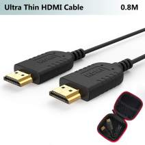 Ultra Thin HDMI Cable 2.6 FT, 4K Hyper Super Flexible Slim HDMI 2.0 Cord, World's Extreme Thinnest HDMI Cables High Speed Supports 3D,Ethernet,ARC,HDR for Gimbal,Nintendo Switch,PS4,Xbox,PC,TV,Monitor