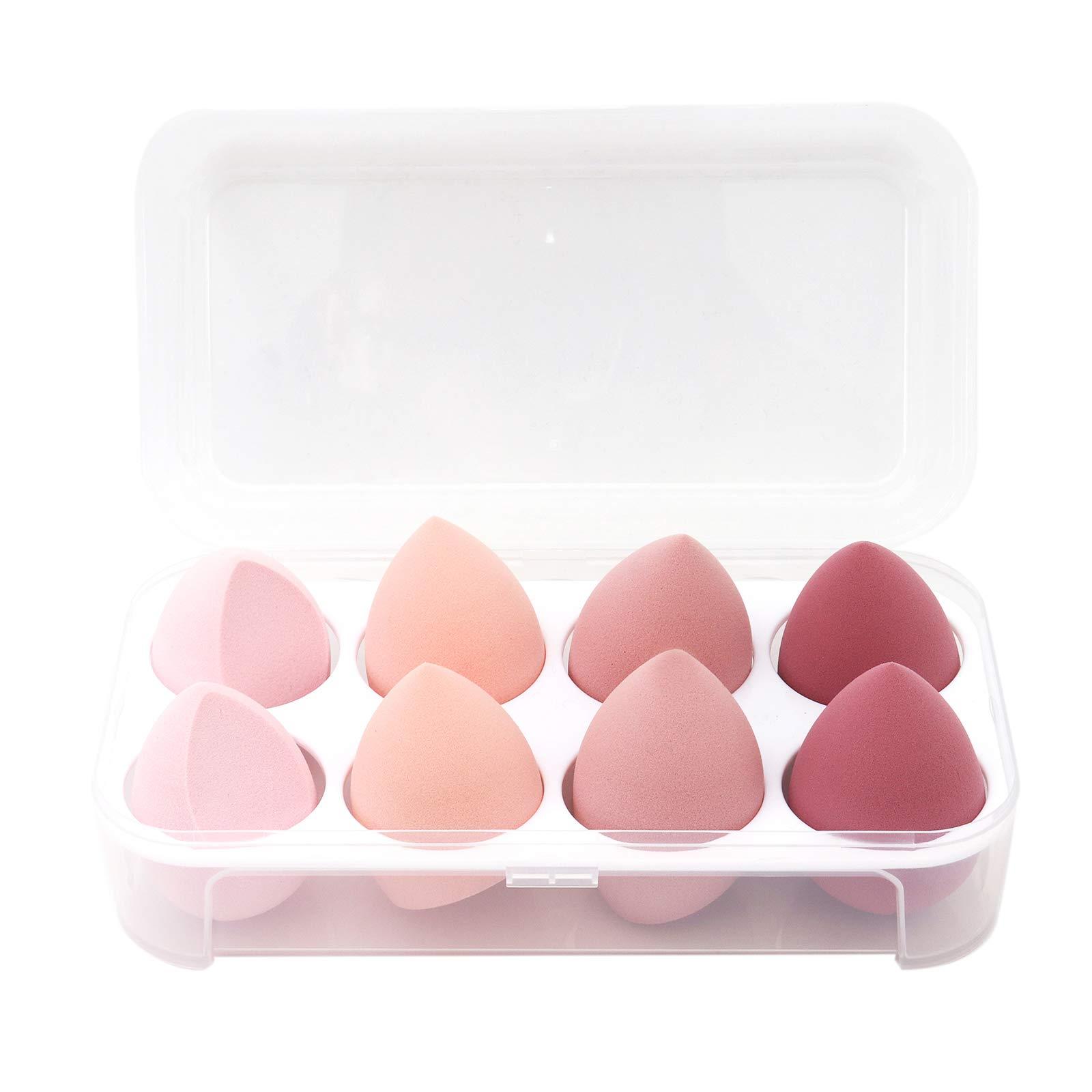 8 PCS Makeup Sponge Set Makeup Sponges Blender Latex-Free Vegan Beauty Sponge Makeup Egg Foundation Blending Cosmetic Makeup Puff for Powder Cream (Pink)