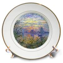 """3dRose cp_203871_1 Print of Monet Painting Sunset on The Seine - Porcelain Plate, 8"""""""