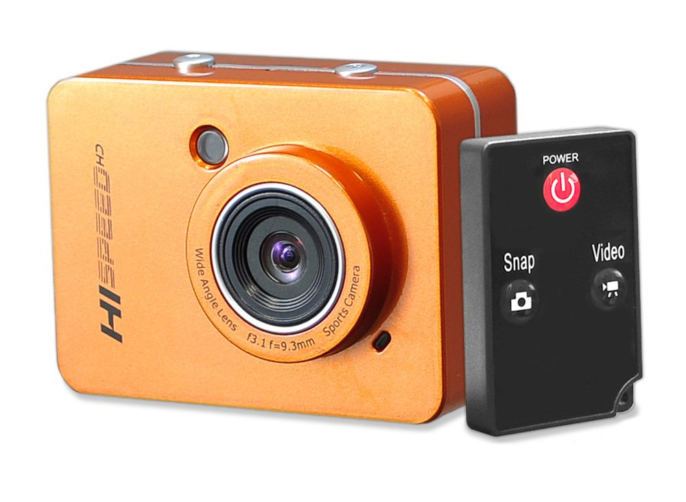 """Hi Speed Sports Action Camera - HD 1080P Mini Camcorder w/ 12 MP Cam, 2.4"""" Touch Screen USB SD Card HDMI, Battery - Waterproof Case, USB Cable, Wireless Remote Control, Mount - Pyle PSCHD60OR (Orange)"""