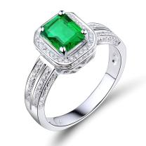 Lanmi 14K White Gold Natural Green Emerald Engagement Solitaire Rings Diamonds Wedding Band for Women Mother's Day