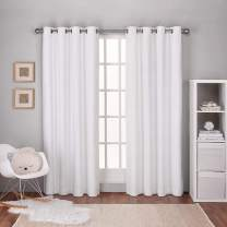 Exclusive Home Curtains Textured Linen Thermal Window Curtain Panel Pair with Grommet Top, 54x108, Winter White, 2 Piece