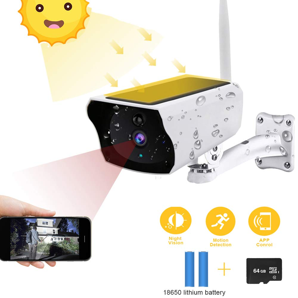 Solar Energy Outdoor Security Camera Wireless, 1080P HD Solar Powered Bullet Wi-Fi IP Camera IP67 Waterproof Night Vision Two-Way Audio Motion Detection Alert + 64G SD Card