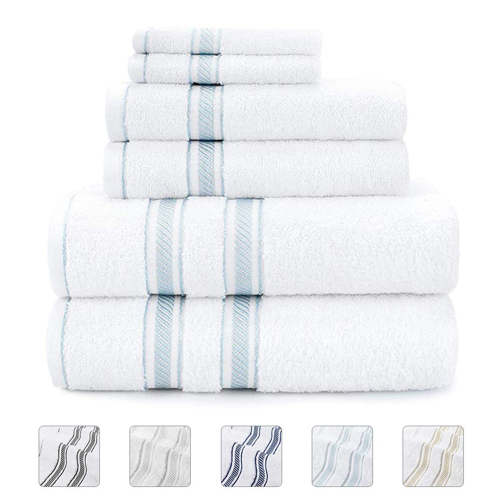 Lionel Richie Home Lifestyle Collection - 6 Piece Towel Set, Light Blue - 100% Cotton Bathroom Towels Set - 2 Luxury Bath Towels for Quickly Drying Hair, 2 Hand Towels for Bathroom, 2 Wash Towels