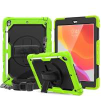 New iPad 10.2 2019 Case with Pencil Holder, CASZONE [Built-in Screen Protector] Heavy Duty Shockproof Rugged Protective Cover with Hand/Shoulder Straps for iPad 7th Generation 2019 10.2 inch, Green