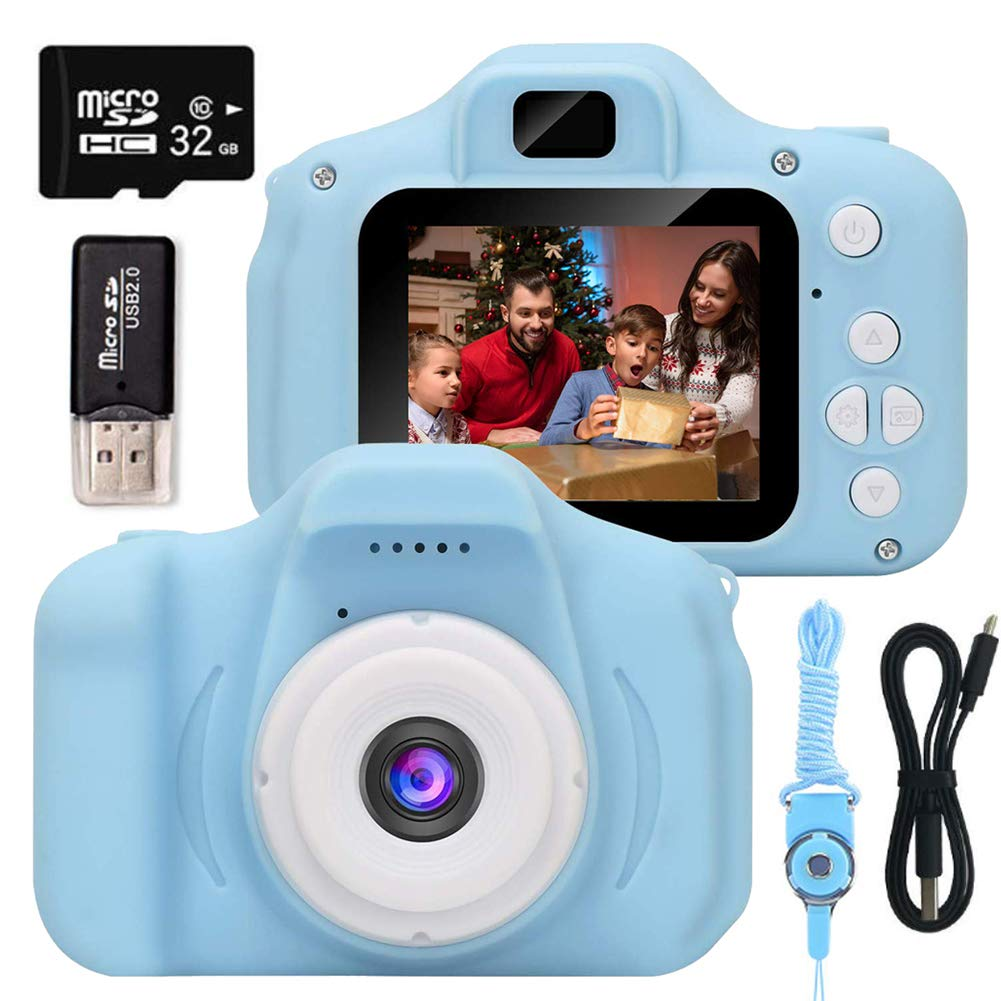EMISK Kids Digital Camera for Boys and Girls Age 3-10, Toddler Cameras Mini Cartoon Rechargeable Video Camera with 2 Inch IPS Screen and 32GB SD Card Child Camcorder Toy Gift for Kid's Birthday (Blue)