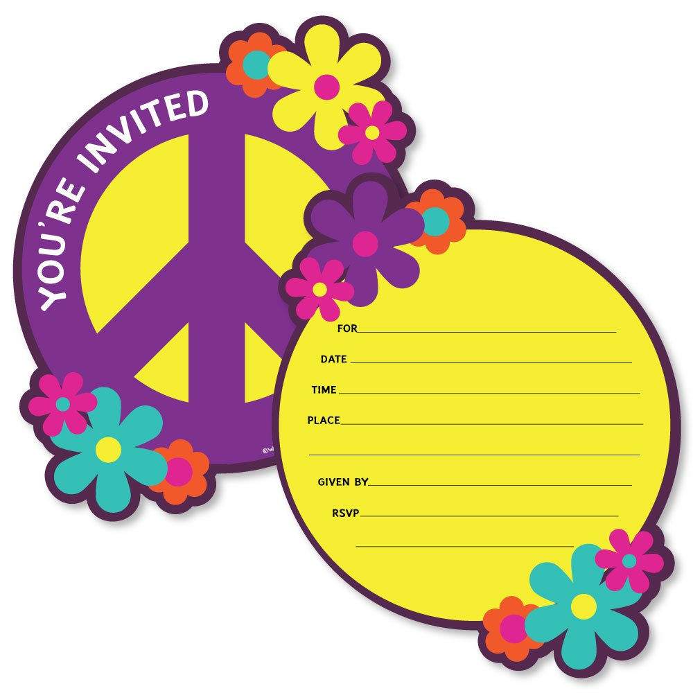 60's Hippie - Shaped Fill-in Invitations - 1960s Groovy Party Invitation Cards with Envelopes - Set of 12