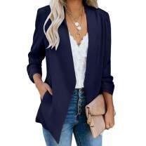 Sherosa Women's Work Offece 3/4 Sleeve Open Front Blazer Lightweight Cardigan Blazer Jackets Suit with Pockets