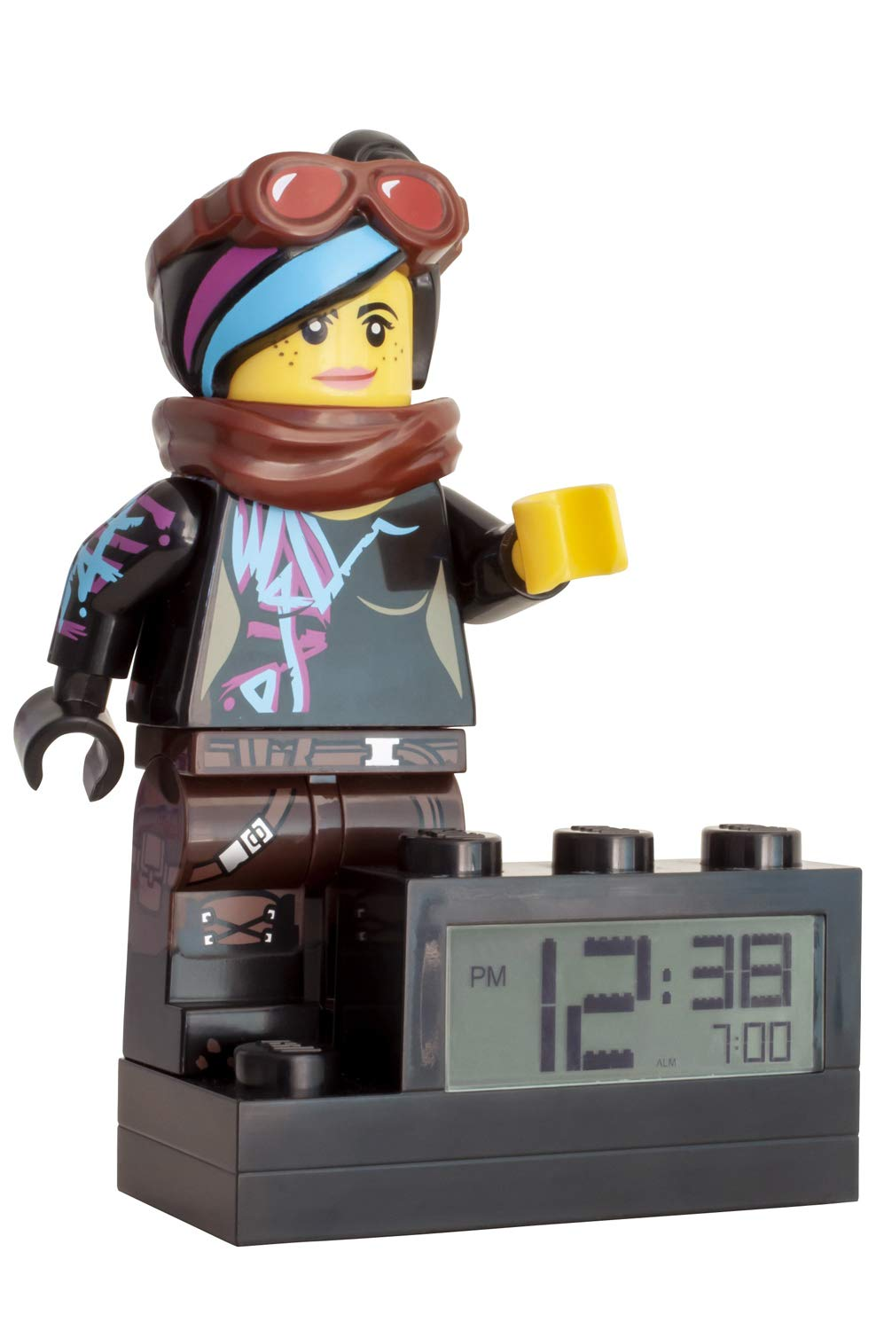 ClicTime 9003974 Kids Minifigure Light Up colour | plastic | 9.5 inches tall | LCD display | boy girl | official Lego Movie 2 Wyldstyle Alarm Clock