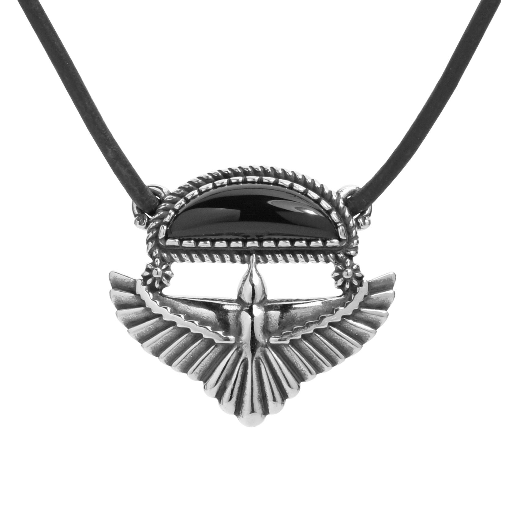American West Sterling Silver Black Agate or Gold Mother of Pearl Eagle Wings Pendant Brown Leather Cord Necklace 20 or 22 Inch