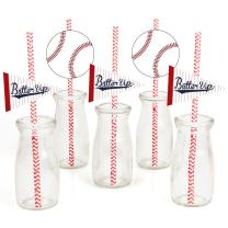 Batter Up - Baseball Paper Straw Decor - Baby Shower or Birthday Party Striped Decorative Straws - Set of 24