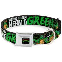Buckle-Down Seatbelt Buckle Dog Collar - Classic TMNT Group Pose6/KEEPING IT Lean, Mean & Green Black/Green/White