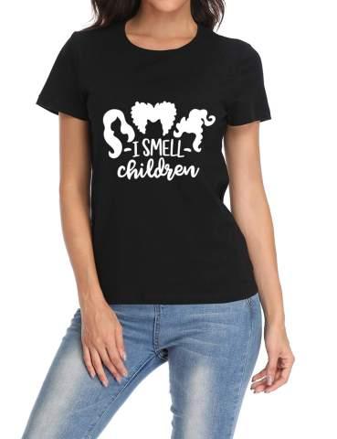 Fannoo Womens Funny Halloween Hocus Pocus T Shirt-I Smeel Children Casual Cotton Short Sleeve Graphic Tees Shirts
