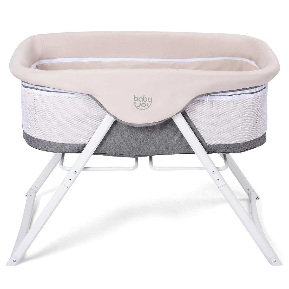 BABY JOY Rocking Bassinet, 2 in 1 Lightweight Travel Cradle w/Detachable & Washable Mattress, Zippered Breathable Mesh Side, Oxford Carry Bag Included, Portable Crib for Newborn Baby (Beige + Gray)