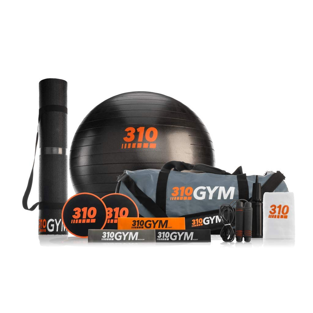 310 Gym Set   Gym in A Bag Comes with Circular and Standard Resistance Bands   Core Sliders   Core Exercise Ball with Pump   Jump Rope   Workout Towel