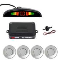 SINOVCLE Car LED Parking Sensor Kit 4 Sensors 22mm Backlight Display Reverse Backup Radar Monitor System 12V (Silver Color)