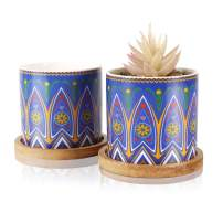 Succulent Planter, 3.23 Inch Cylinder Mandalas Style Ceramic Planter for Cactus, Succulent Planting, with Drainage Hole, Bamboo Trays (2 Pack Blue 3.23 inch)