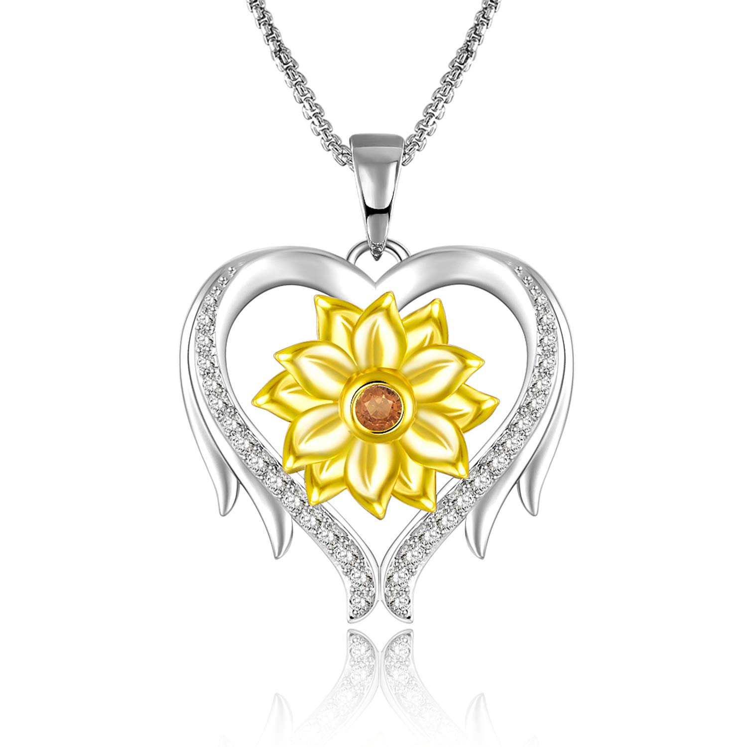 GEORGE · SMITH Sunflower Love Heart Pendant Necklace Gold Plated Flower Necklace You are My Sunshine Necklace Jewelry Christmas Birthday Gifts for Women Girls-Gold