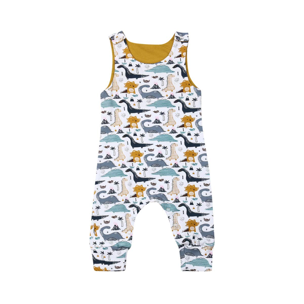 FAROOT Toddlers Baby Boys Sleeveless Cute Dinosaur Print Romper Jumpsuit Summer Bodysuit Shoulder Strap Buttons Outfit