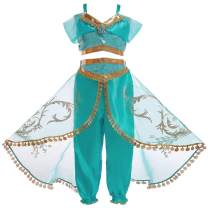 RUEWEY Womens Jasmine Princess Cosplay Belly Dance Dress Up Anime Lamp Costumes Party Adventure Outfit
