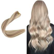 "Easyouth Weave Hair Color 18 Ash Blonde Highlights with 613 Bleach Blonde (12"" 70g) Remy Hair Extensions, Sew in Hair Extensions Human Hair Easy to Install for Hairdresser Real Human Hair Extensions"