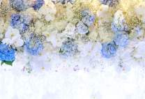 AOFOTO 5x3ft Beautiful White Blue Flowers Background for Wedding Photography Ladies Tea Party Girls Portrait Lovers Annivery Floral Backdrop Valentine Kids Adults Woman Mom Photo Studio Props
