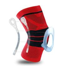 Knee Brace, Knee Support Compression Sleeve with Side Stabilizers + Silicone Patella Gel Pad for Meniscus Tear,Arthritis,Jogging,Sports,Running Men Women(Single) (Red, X-Large) …