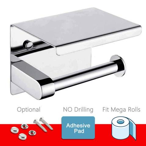 Toilet Paper Holder - Toilet Paper Roll Holder with Shelf, Adhesive No Drilling or Wall Mounted with Screws for Bathroom, It Holds Mega Roll- Stainless Steel Polished Chrome